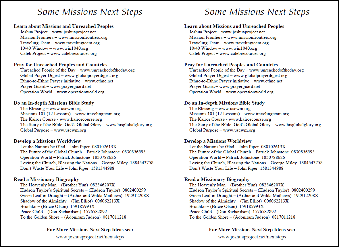 Missions Next Steps