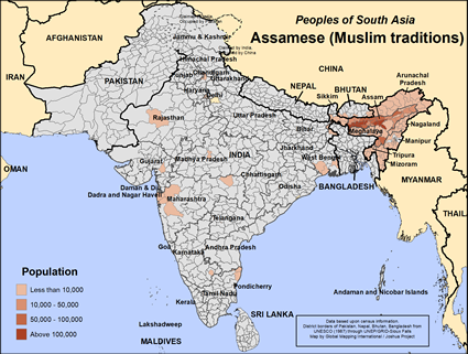 Map of Assamese (Muslim traditions) in India