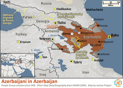 Map of Azerbaijani in Azerbaijan