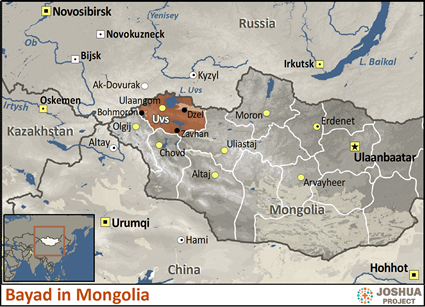 Map of Bayad in Mongolia
