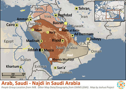 Map of Arab, Saudi - Najdi in Saudi Arabia