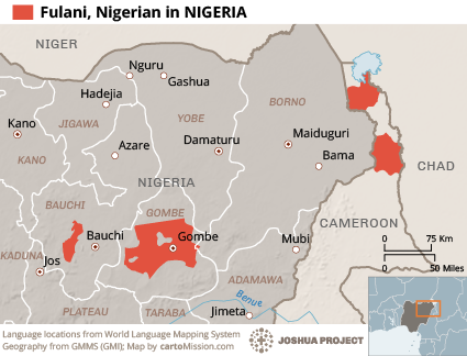 Map of Fulani, Nigerian in Nigeria