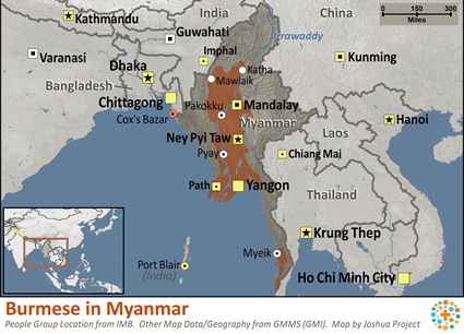 Map of Burmese in Myanmar (Burma)