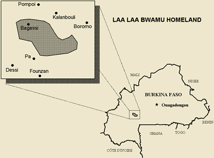 Map of Bwamu, Laa Laa in Burkina Faso