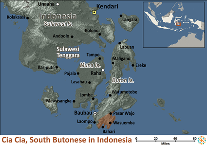 Map of Cia-Cia, South Butonese in Indonesia