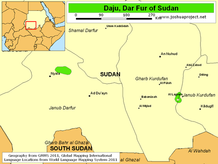 Map of Daju, Dar Fur in Sudan