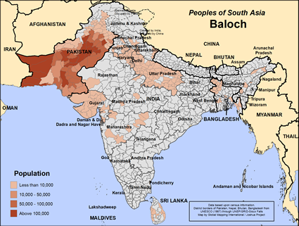 Map of Baloch in India