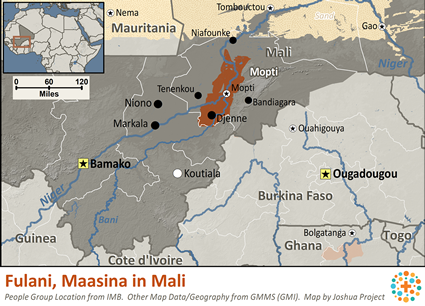 Map of Fulani, Maasina in Mali