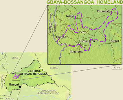 Map of Gbaya-Bossangoa in Central African Republic