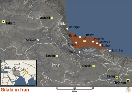 Map of Gilaki in Iran