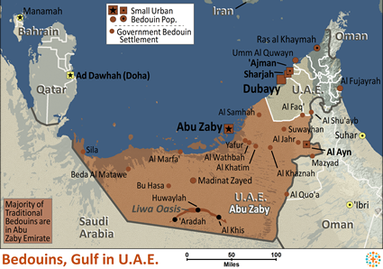 Map of Bedouin, Gulf in United Arab Emirates