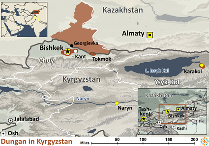 Map of Dungan in Kyrgyzstan