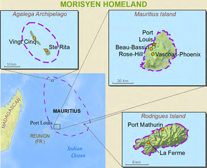 Map of Mauritian in Mauritius