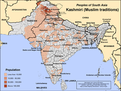Map of Kashmiri (Muslim traditions) in India