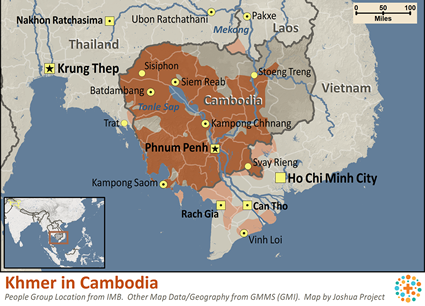 Map of Khmer in Cambodia