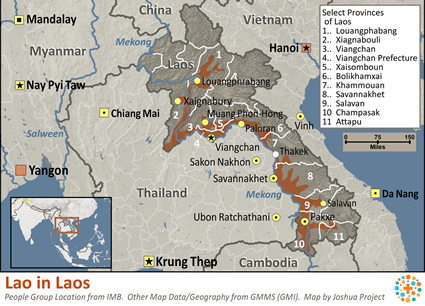 Map of Lao in Laos