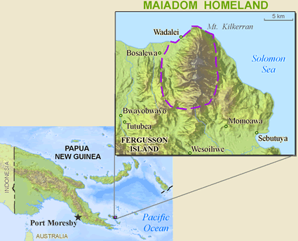 Map of Maiadom in Papua New Guinea
