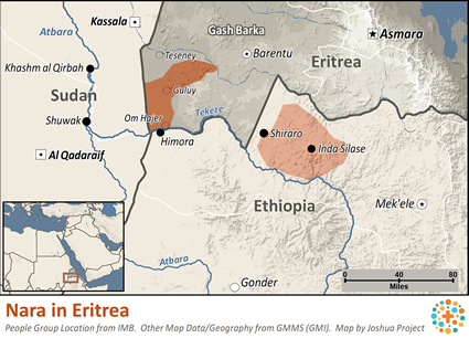Map of Nara, Nialetic in Eritrea