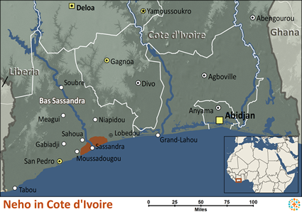 Map of Neho in Côte d'Ivoire