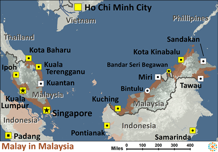 Map of Malay in Malaysia