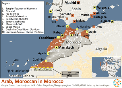 Map of Moroccan, Arabic-speaking in Morocco