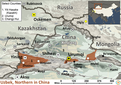 Map of Uzbek, Northern in China