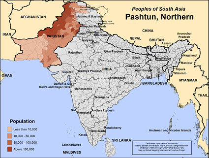 Map of Pashtun in Pakistan