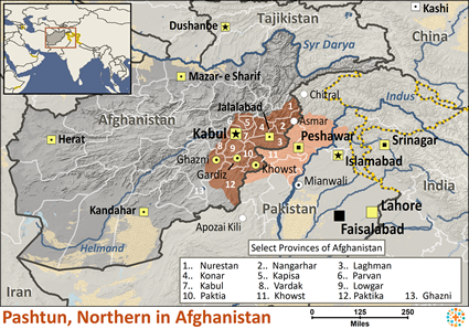 Map of Pashtun, Northern in Afghanistan