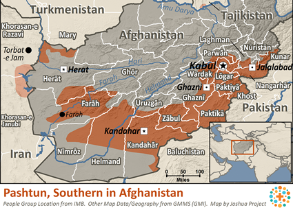 Map of Pashtun, Southern in Afghanistan