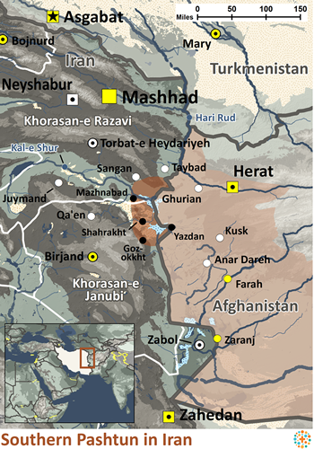 Map of Pashtun, Southern in Iran