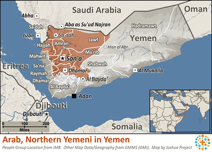 Map of Arab, Northern Yemeni in Yemen