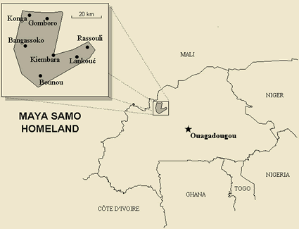 Map of Samo, Maya in Burkina Faso