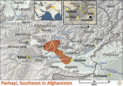 Map of Pashayi, Southeast in Afghanistan