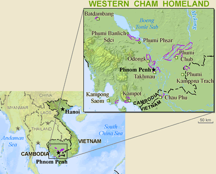 Map of Cham, Western in Laos