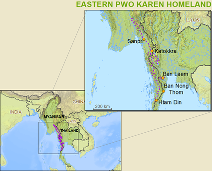 Map of Karen, Pwo Eastern in Thailand