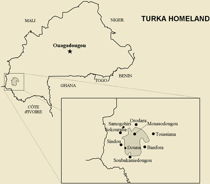 Map of Turka, Tyurama in Burkina Faso