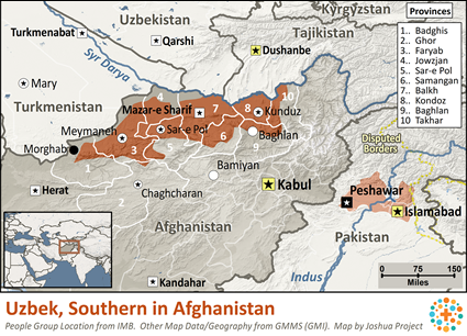 Map of Uzbek, Southern in Afghanistan