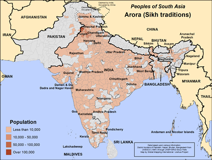 Map of Arora (Sikh traditions) in India