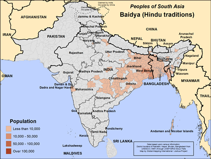 Map of Baidya (Hindu traditions) in Bangladesh