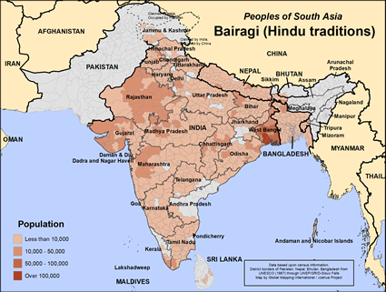 Map of Bairagi (Hindu traditions) in India
