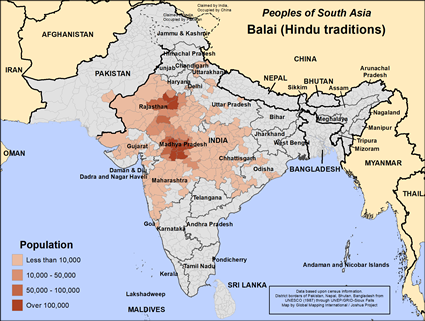 Map of Balai (Hindu traditions) in India