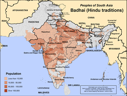 Map of Badhai (Hindu traditions) in India