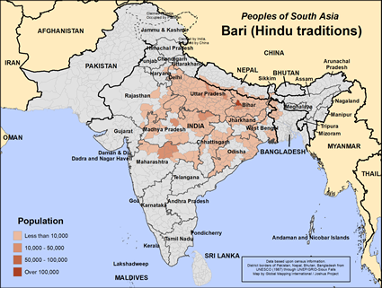 Map of Bari (Hindu traditions) in India