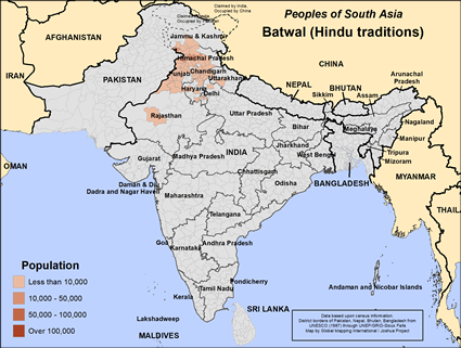 Map of Batwal (Hindu traditions) in India