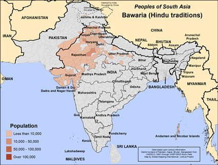 Map of Bawaria (Hindu traditions) in India