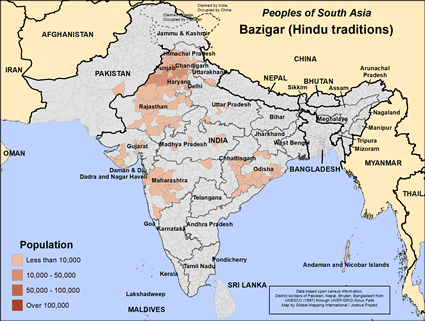 Map of Bazigar (Hindu traditions) in India