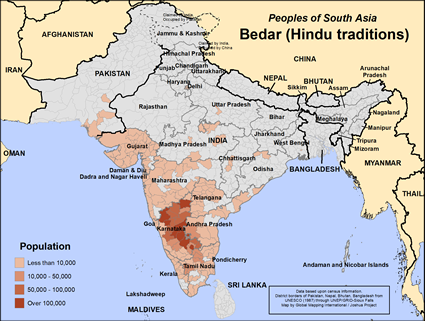 Map of Bedar (Hindu traditions) in India