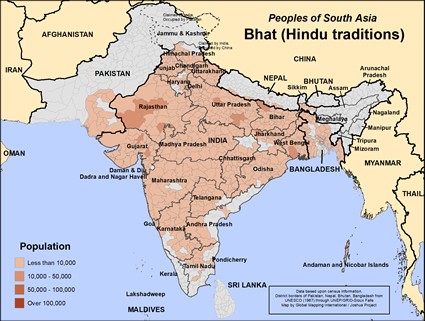 Map of Bhat (Hindu traditions) in Pakistan