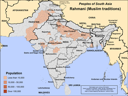 Map of Rahmani (Muslim traditions) in India