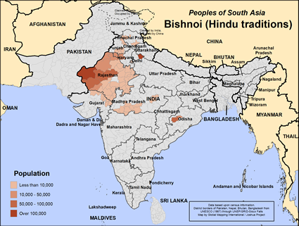 Map of Bishnoi (Hindu traditions) in India